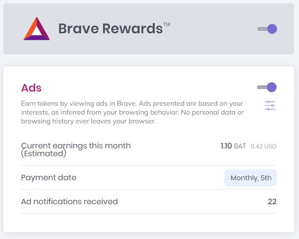 Get Paid BAT with Brave Browser- Brave Rewards Ad Summary